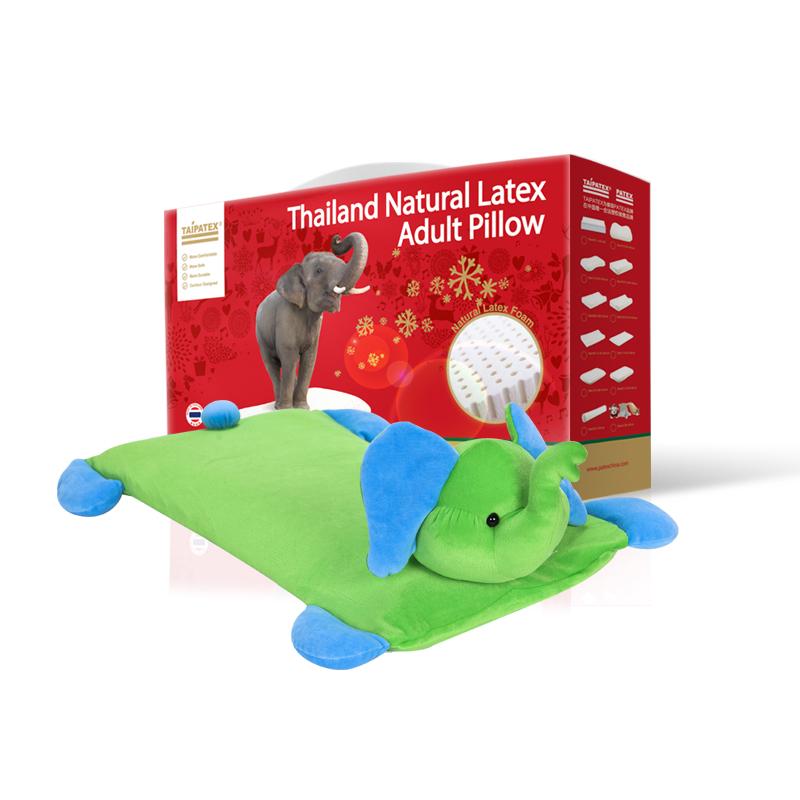 """泰国原装进口TAIPATEX天然乳胶""""Doll pillow 儿童多功能玩具枕绿象"""