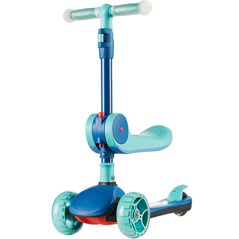 可优比(KUB)儿童滑板车3-6-12岁单滑滑车宝宝踏板可折叠多功能宽轮溜溜车摩登绿