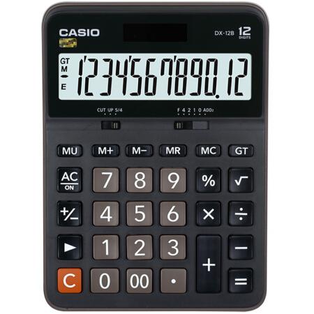 卡西欧(CASIO)DX-12B 商务计算器 大型机 黑色 DX-12S升级款