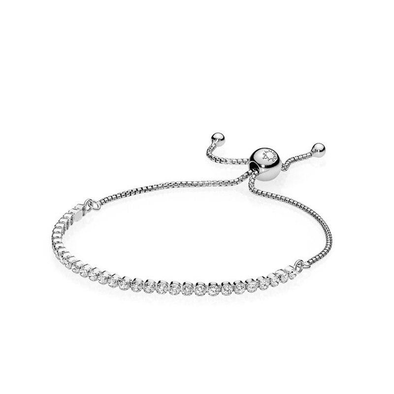 PANDORA/潘多拉 925銀 銀色閃耀可調節手鏈繩 590524CZ