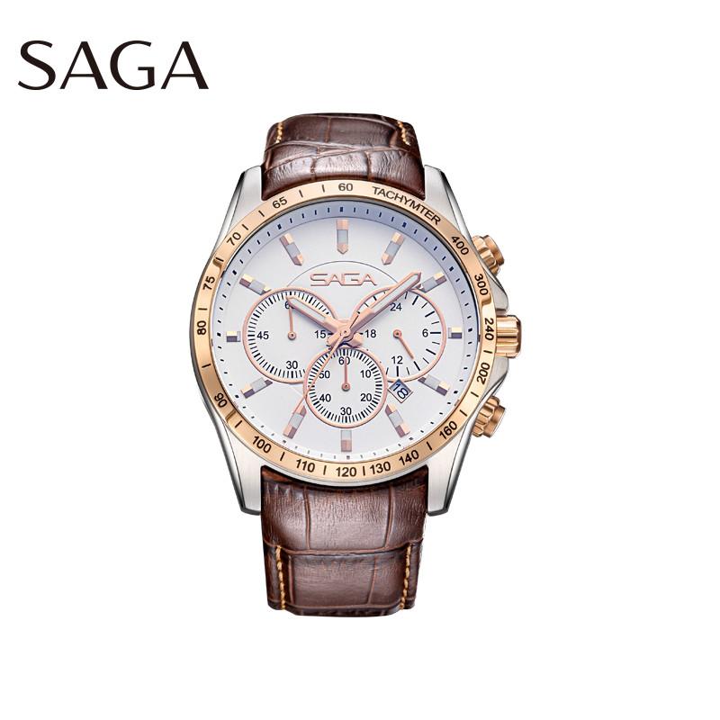 SAGA世家男表品牌正品男士腕表真皮表带防水多功能休闲商务石英表
