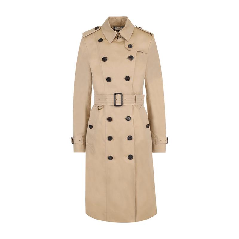 Burberry巴宝莉女装 女士蜂蜜色桑德林汉姆版型加长款Trench风衣外套 4006904