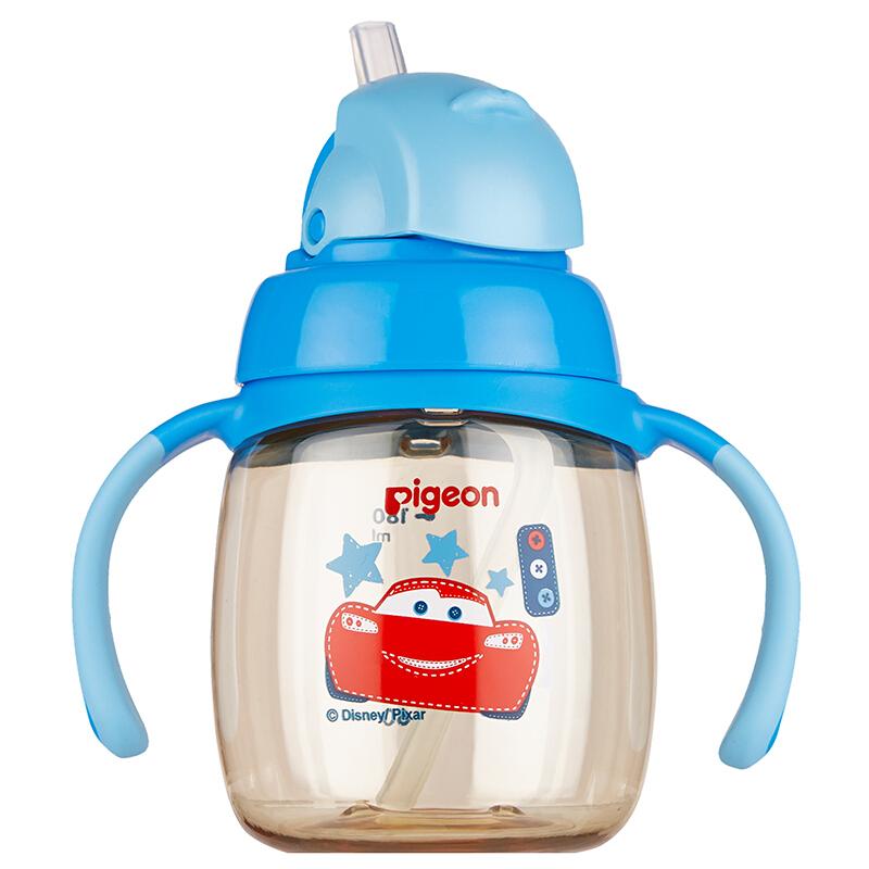 贝亲(pigeon)吸管杯 双把手 PPSU 学饮杯 婴儿水杯 儿童水杯 迪士尼 disney 闪电麦昆 8个月以上180ml