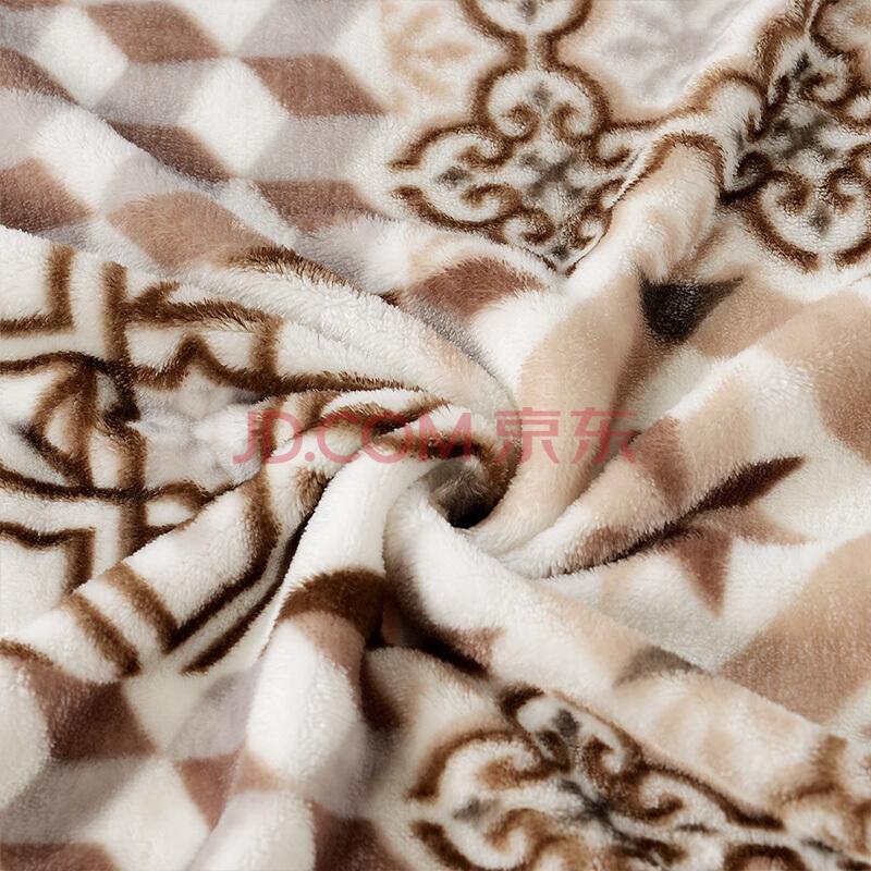 富安娜家纺 毛毯保暖 毯子中性 秋冬保暖床单盖毯 法兰绒毯午休毯子午睡空调毯 莫格 180*200cm,富安娜(FUANNA)
