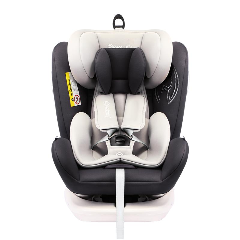瑞贝乐reebaby 儿童安全座椅 360度旋转汽车用ISOFIX接口 0-4-12岁婴儿宝宝新生儿通用可坐躺 银河灰