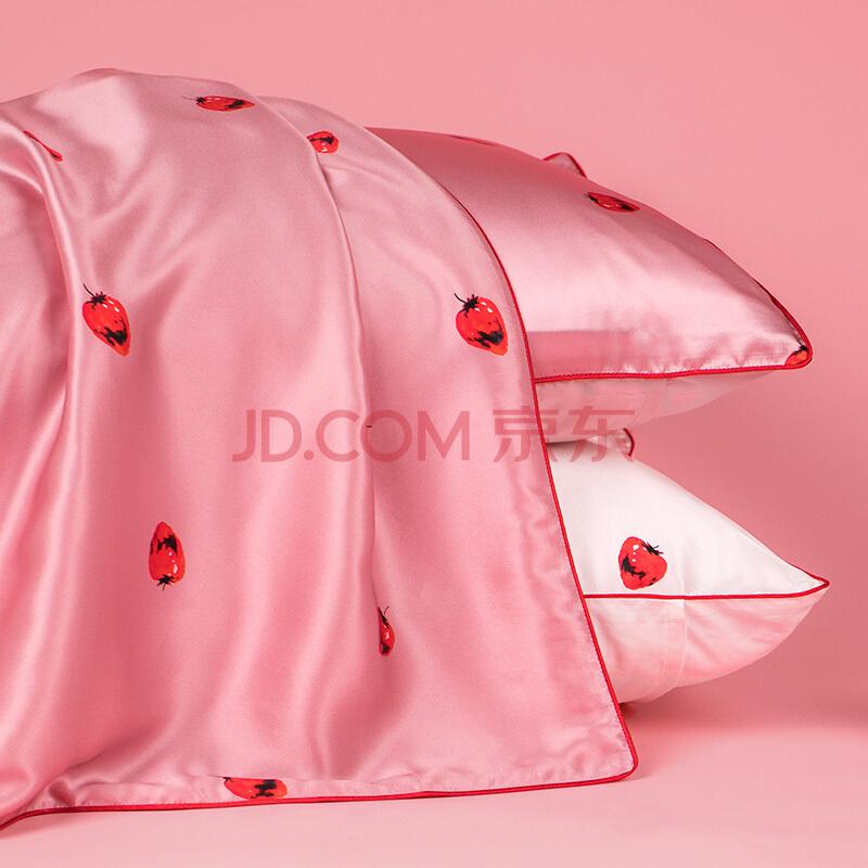 太湖雪 床品家纺 草莓甜心真丝枕套 100%桑蚕丝绸单面枕头套 单个装 玫瑰粉 48*74cm,太湖雪
