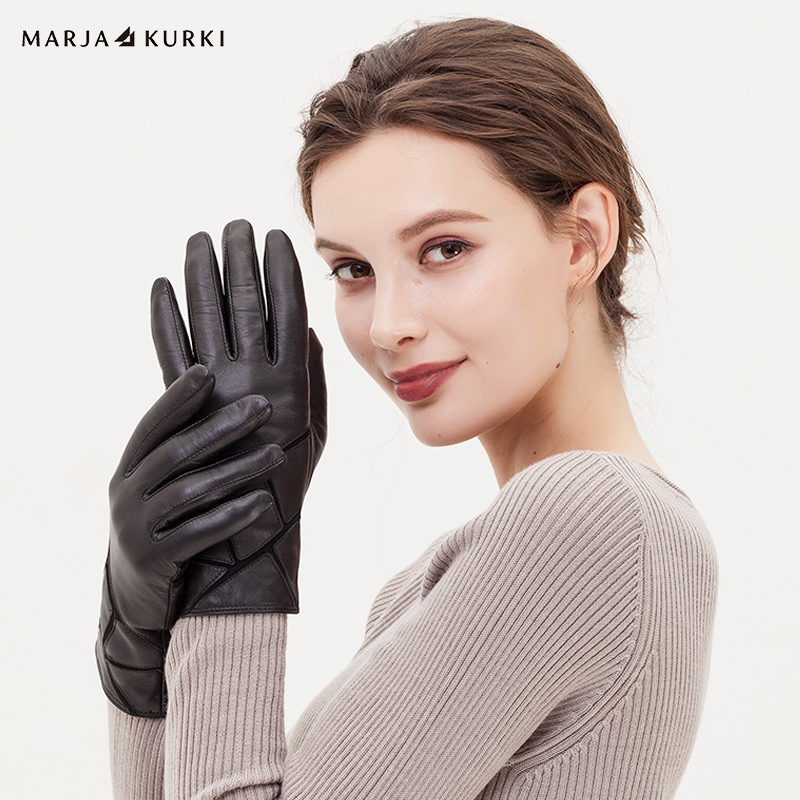 玛丽亚.古琦(MARJA KURKI)羊皮手套 纯色简约加绒款修手保暖羊皮手套女 礼盒装 爱丽萨贝蒂5GG40M399 黑M