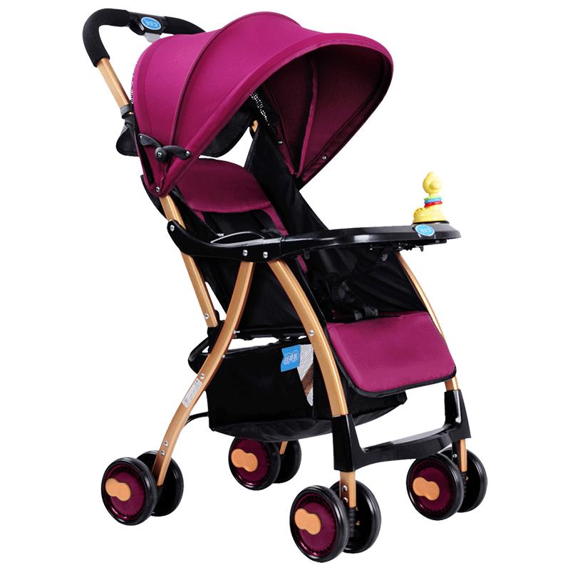 宝宝好婴儿推车轻便折叠婴儿车推车可坐躺儿童伞车宝宝手推车A1紫色