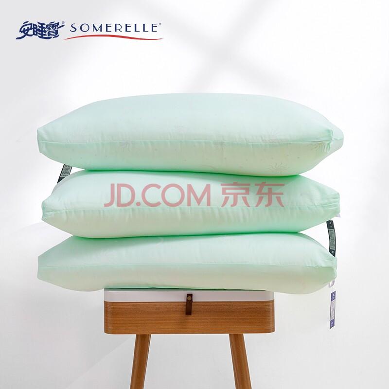 安睡宝(SOMERELLE)枕芯 英威达科技四孔抗菌纤维高弹枕头 可水洗枕芯 星月蓝 单只装 48*74cm,安睡宝(SOMERELLE)