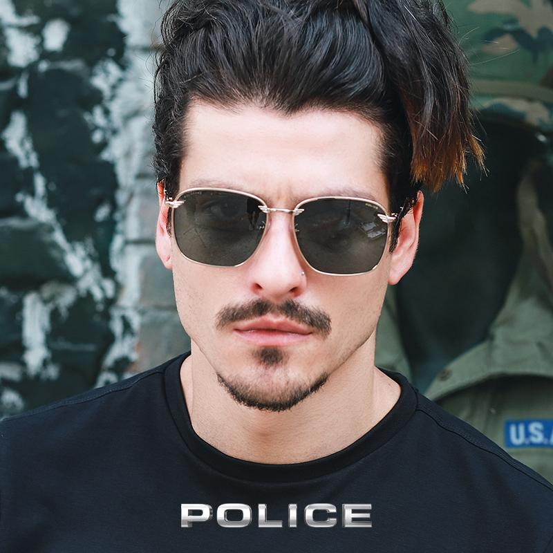 意大利POLICE男士春夏太阳眼镜时尚全框金属偏光墨镜SPLA36J