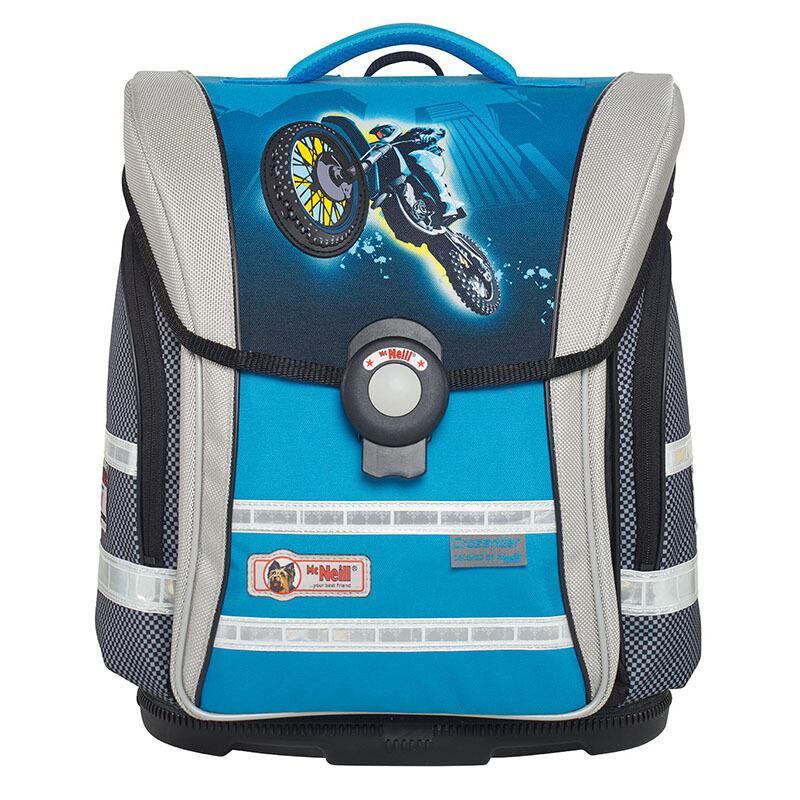 McNeill 德國進口兒童小學生書包 減負護脊輕便雙肩背包四件套 藍色摩托 compact-9607166 33*38*20
