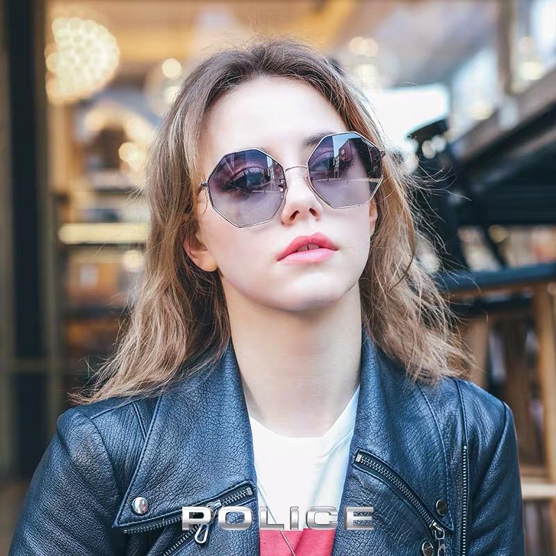 意大利POLICE太阳眼镜女潮款时尚墨镜六边形金属全框太阳镜SPL837