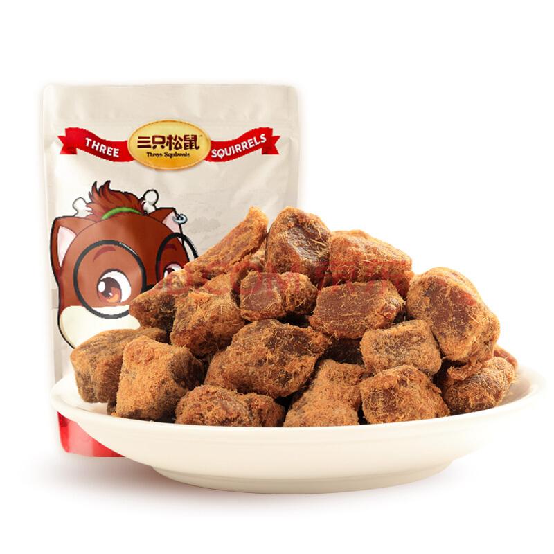 三只松鼠猪肉粒 休闲零食 猪肉干肉脯 猪肉熟食小吃 五香猪肉粒90g,三只松鼠(Three Squirrels)