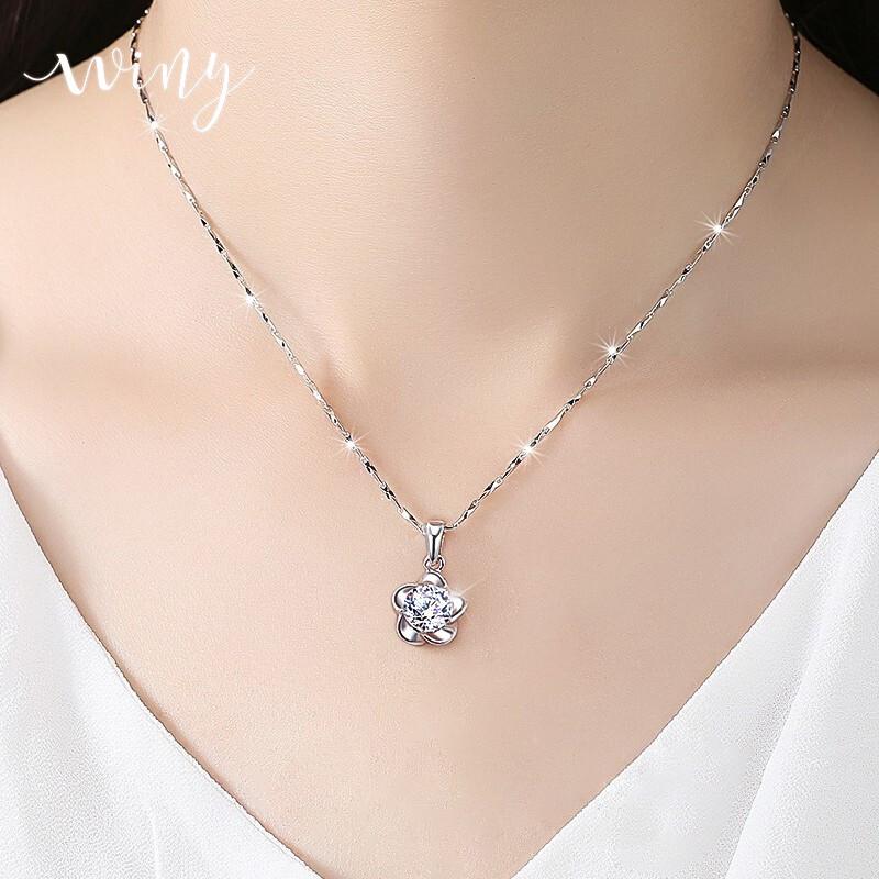 唯一银项链女士时尚饰品锁骨链情侣吊坠999足银首饰学生项圈颈链花朵镶优质锆石送女友