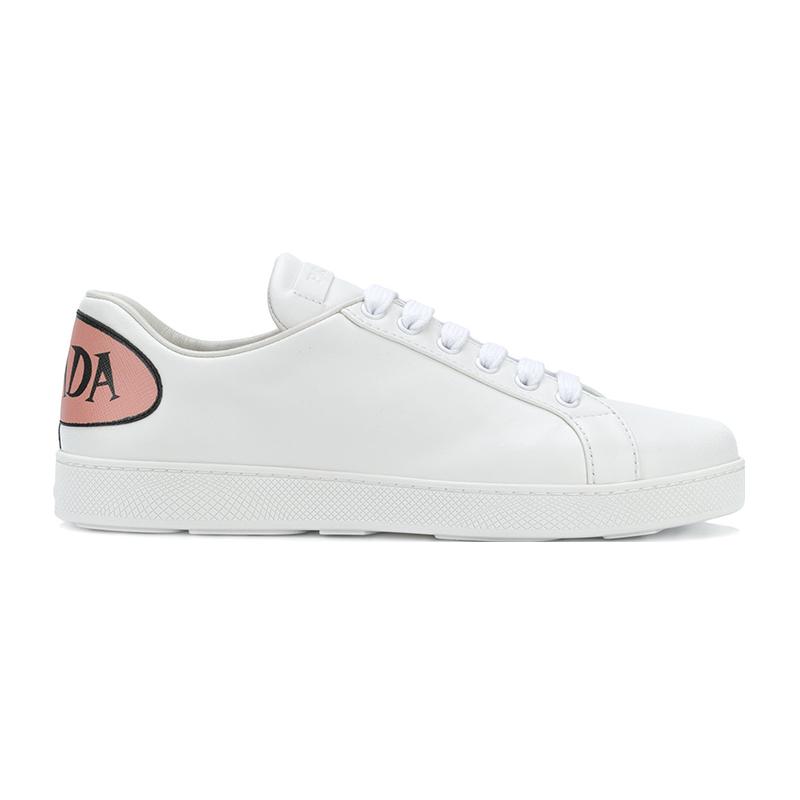 PRADA/普拉达 女士白色后跟带浅玖瑰图标皮革运动鞋