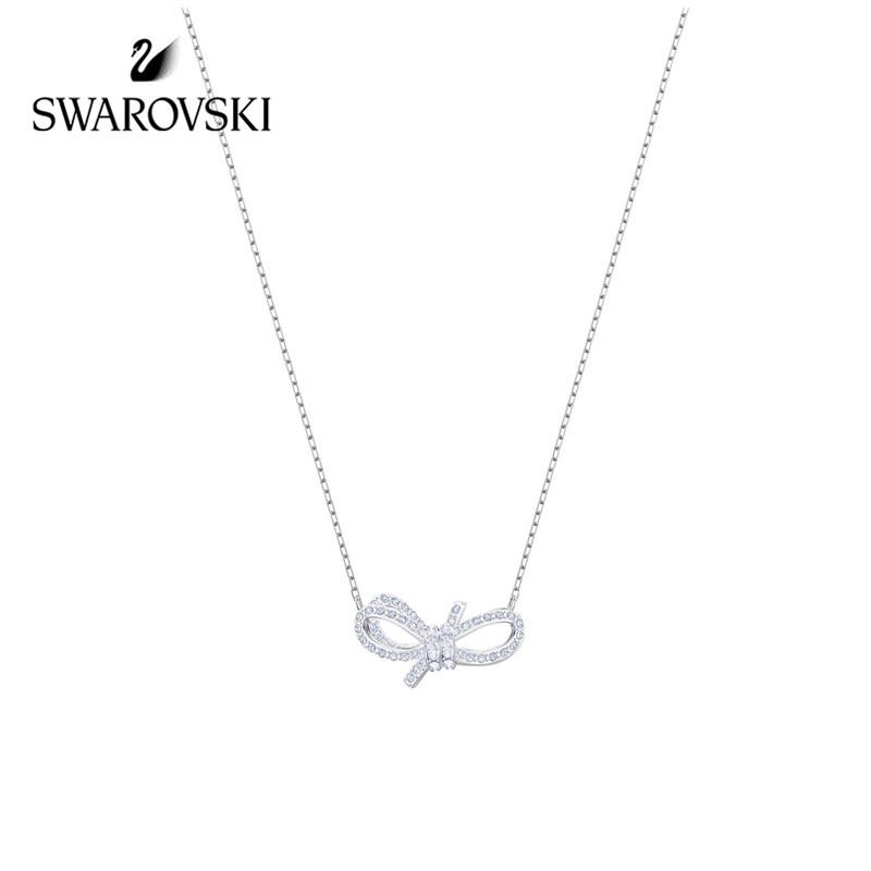 施华洛世奇 Swarovski Lifelong Bow系列 蝴蝶结项链 送女友礼物 5440643 蝴蝶结白金色 5440643