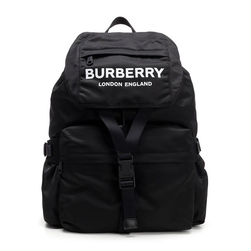 BURBERRY/巴宝莉女包 黑色尼龙徽标印花双肩包 8010608