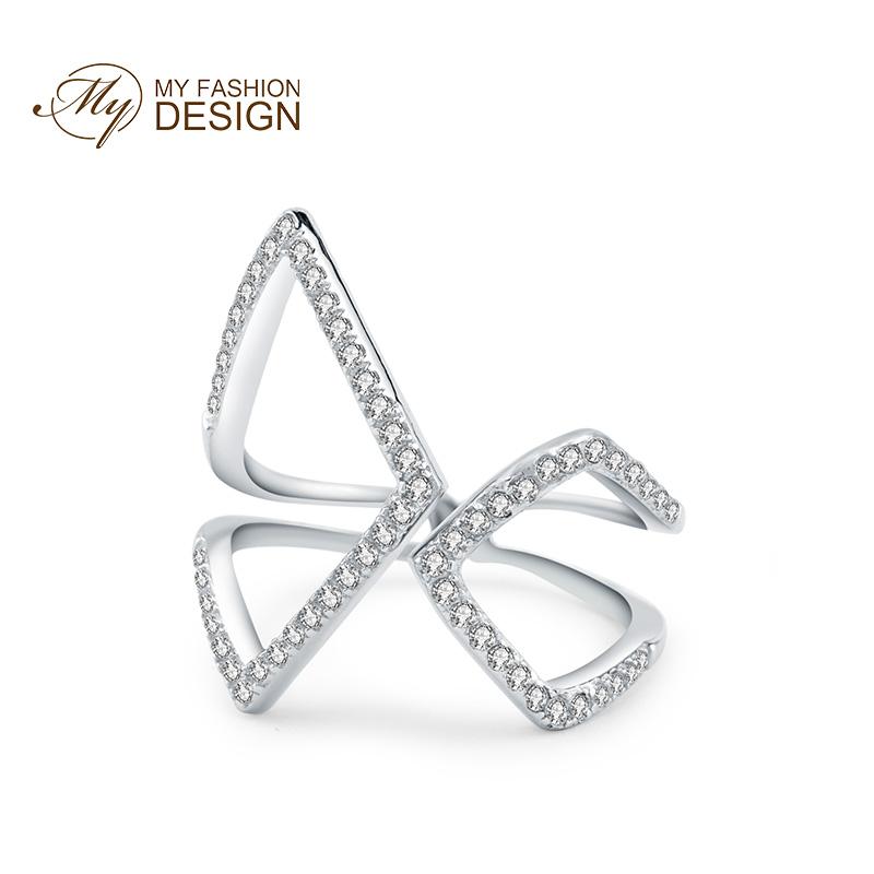 MYFD 戒指女S925银色玫瑰金色镶晶钻酷炫系列与你同在晚宴戒指