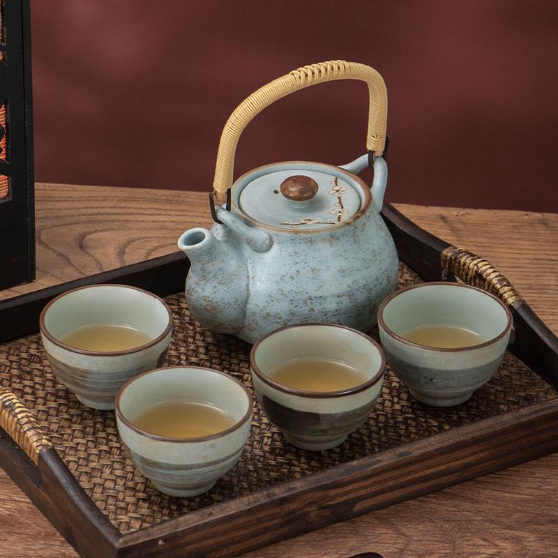 MinoYaki 美浓烧日本进口早春茶具茶壶套装(不带茶盘)