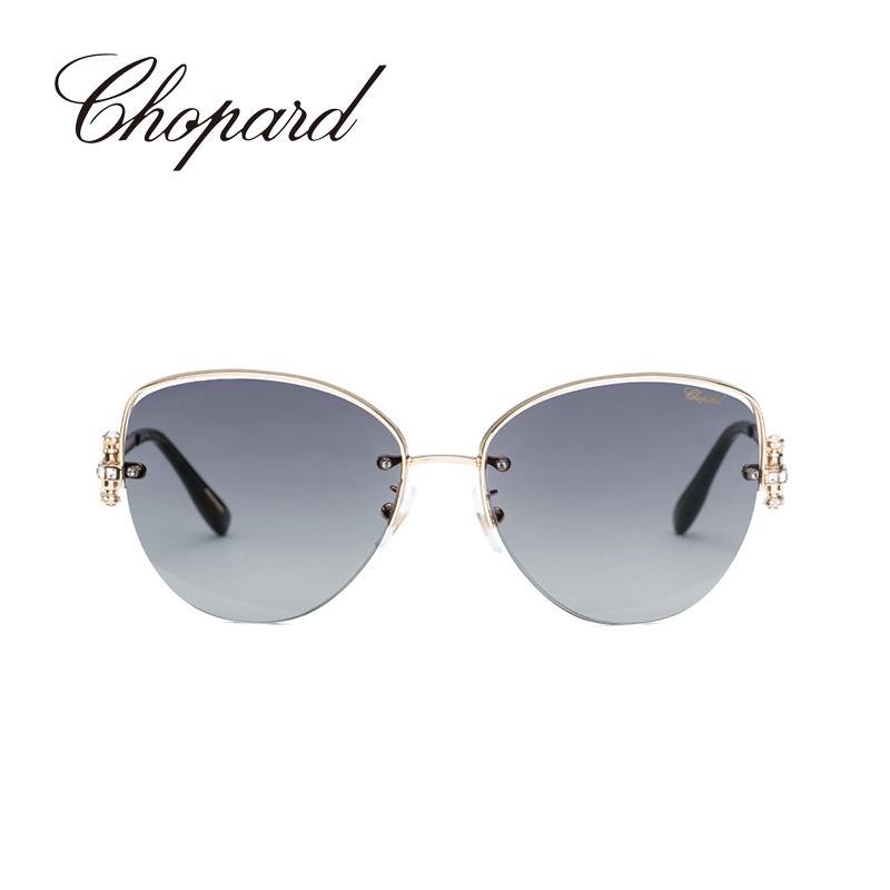 意大利Chopard/萧邦半框金属时尚大框女士墨镜猫眼太阳眼镜SCHC18S