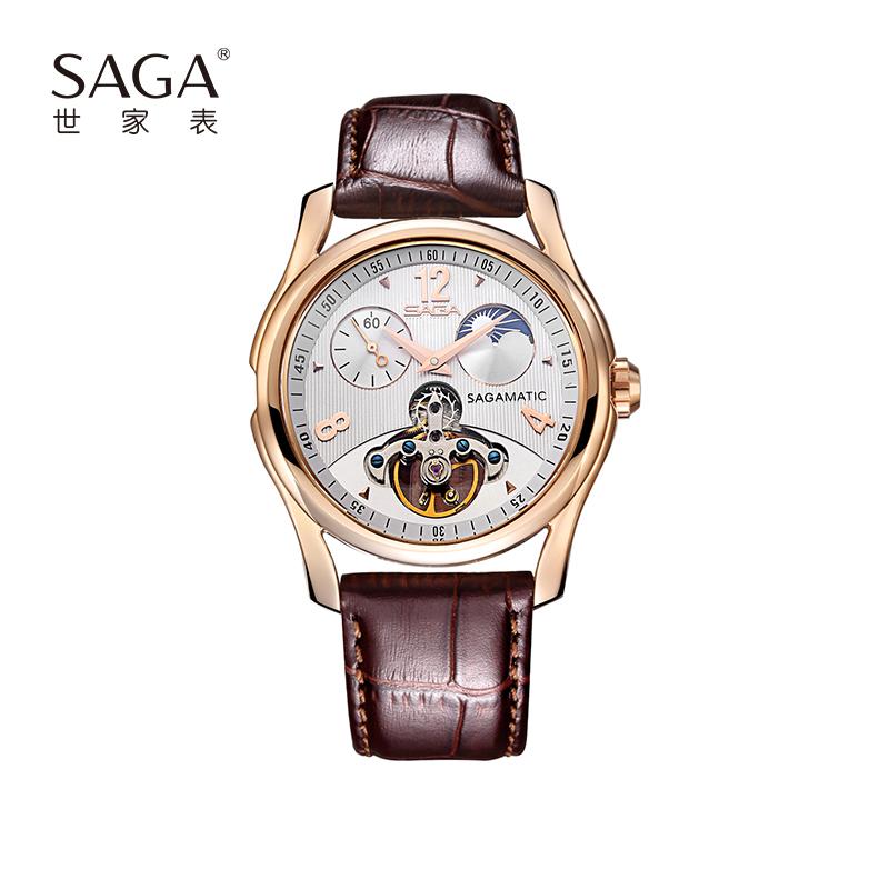 SAGA世家男士表时尚休闲机械表男品牌正品手表防水真皮表带轻奢