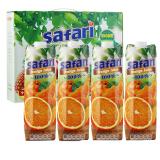 塞浦路斯進口果汁 薩法瑞safari 100%橙汁飲料純果汁飲料1L*4瓶 禮盒裝,薩法瑞