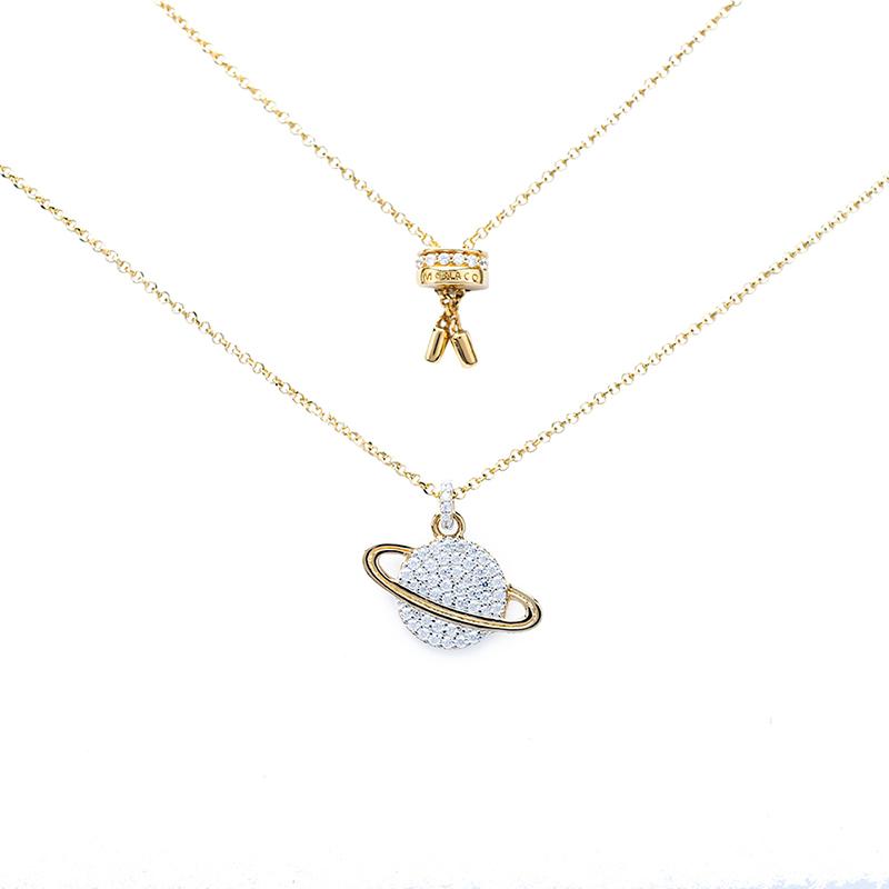 APM Monaco银镶晶钻星球项链女气质颈链 吊坠锁骨链 礼物送女友AC3917OXY