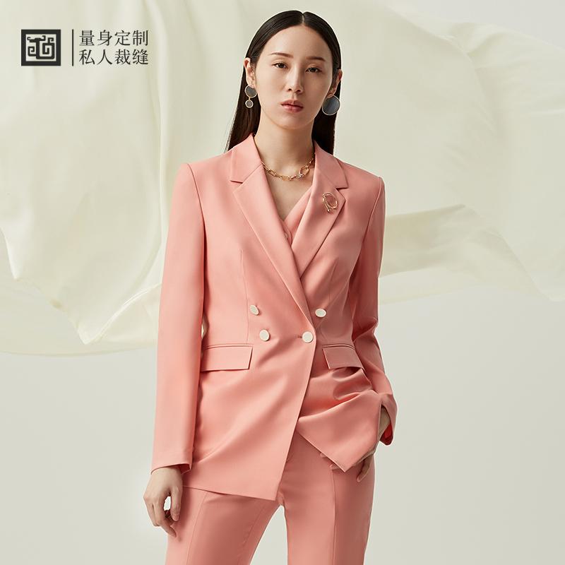 隆庆祥量身定制 21春夏 女士时尚阔版羊毛西服套装