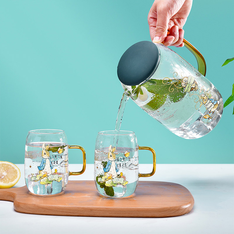 Peter Rabbi 比得兔1.4L大容量高硼硅玻璃琉璃耐热防爆冷水壶套装家用白开水杯凉茶壶
