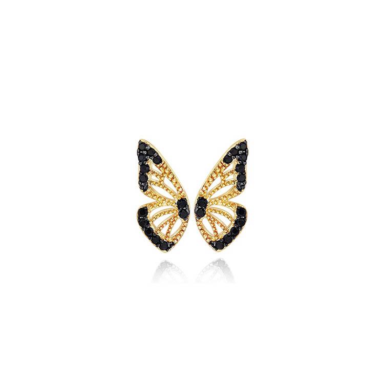 靜風格S925銀耳環女時尚鍍14K金仿鋯石耳飾迷你蝴蝶翅膀造型耳釘JB200S1015