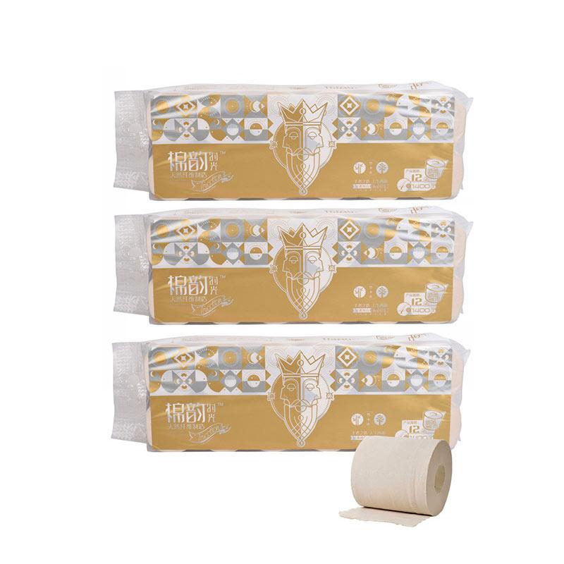 棉韵时光 双色系列36卷4层卫生纸厕纸家用卷纸组合2提(12卷/提,共3提)