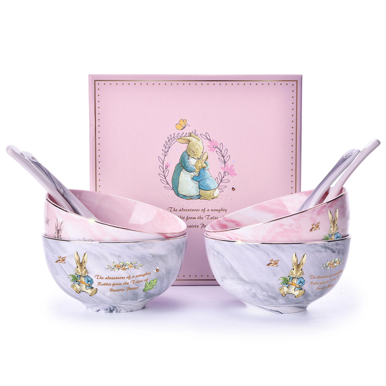 比得兔大理石纹4.5寸饭碗礼盒装(八件套)PR-T1056(一分购活动)