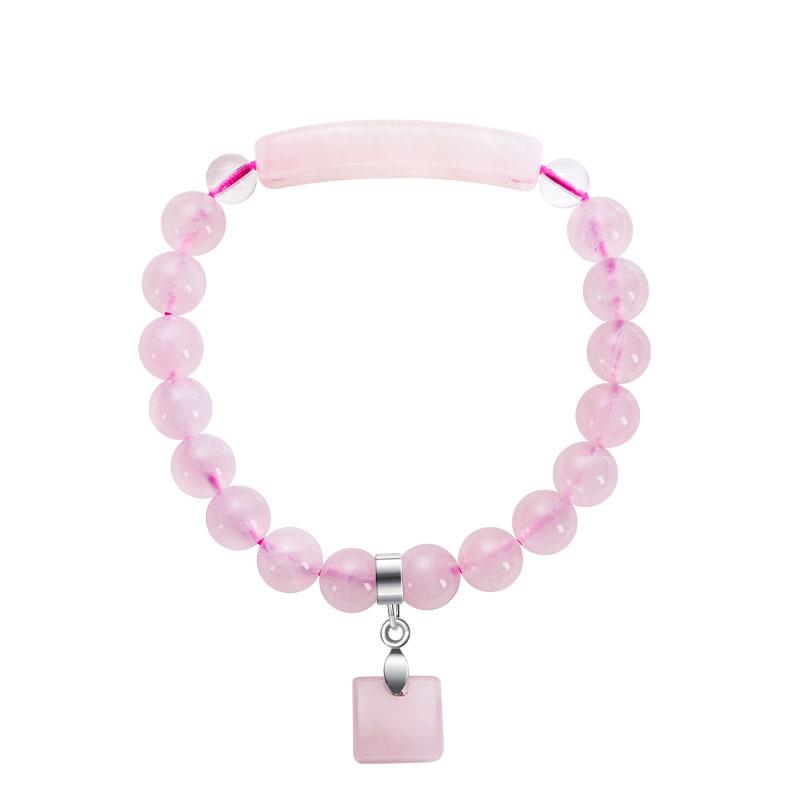 石頭記一往情深天然粉水晶手鏈甜美粉晶芙蓉石好運手珠