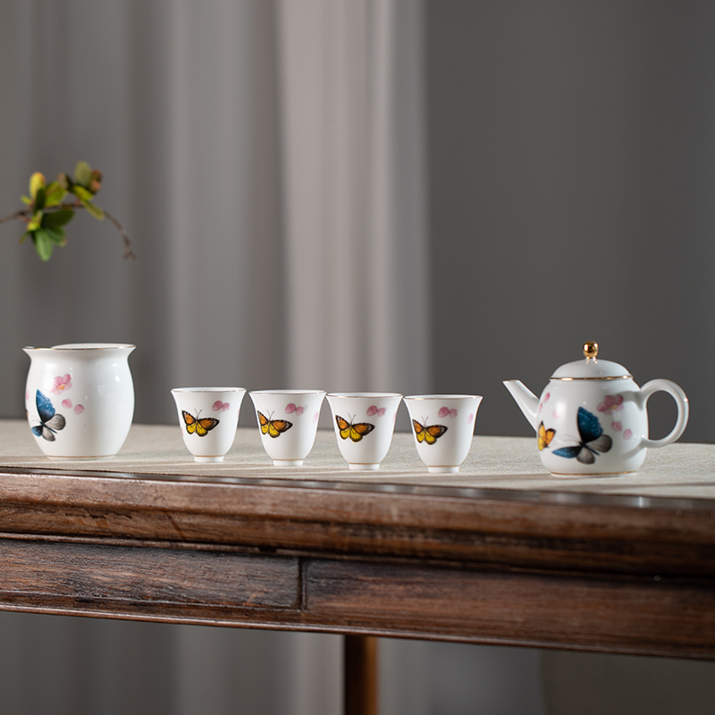 朱炳仁铜 贵山窑家用泡茶器商务礼品整套茶具蝶恋花套装