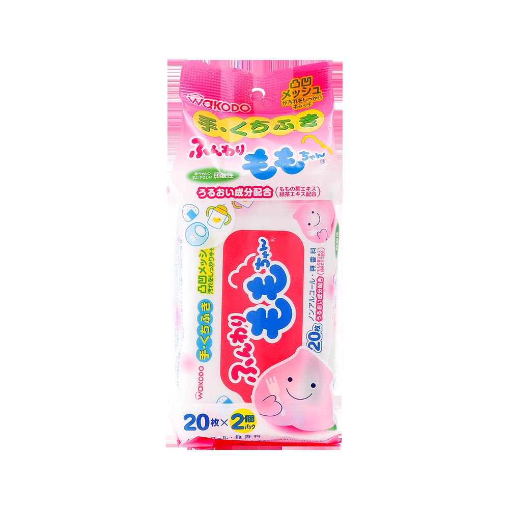 WAKODO 和光堂 桃子先生便攜除菌手口專用濕巾 40片(20片×2包)