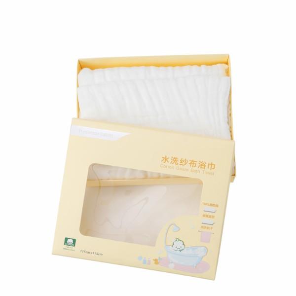 全棉時代盒裝白色精梳棉水洗紗布浴巾800-002004-01