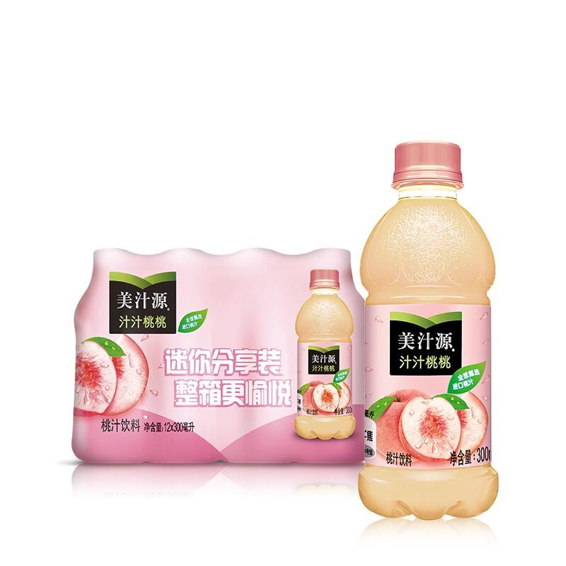 美汁源 Minute Maid 汁汁桃桃 桃汁饮料 300ml*12瓶 整箱装 可口可乐出品 新老包装随机发货