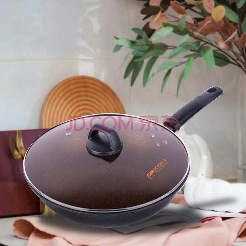 康巴赫不粘炒锅30cm麦饭石色少油烟炒菜锅,康巴赫(KBH)