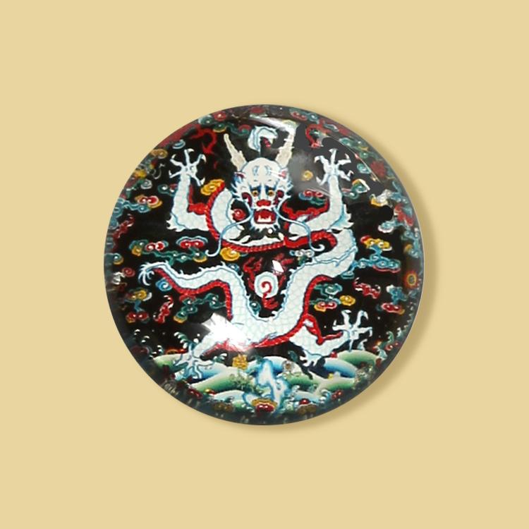 宮廷紋飾冰箱貼-石青團紋云龍紋飾