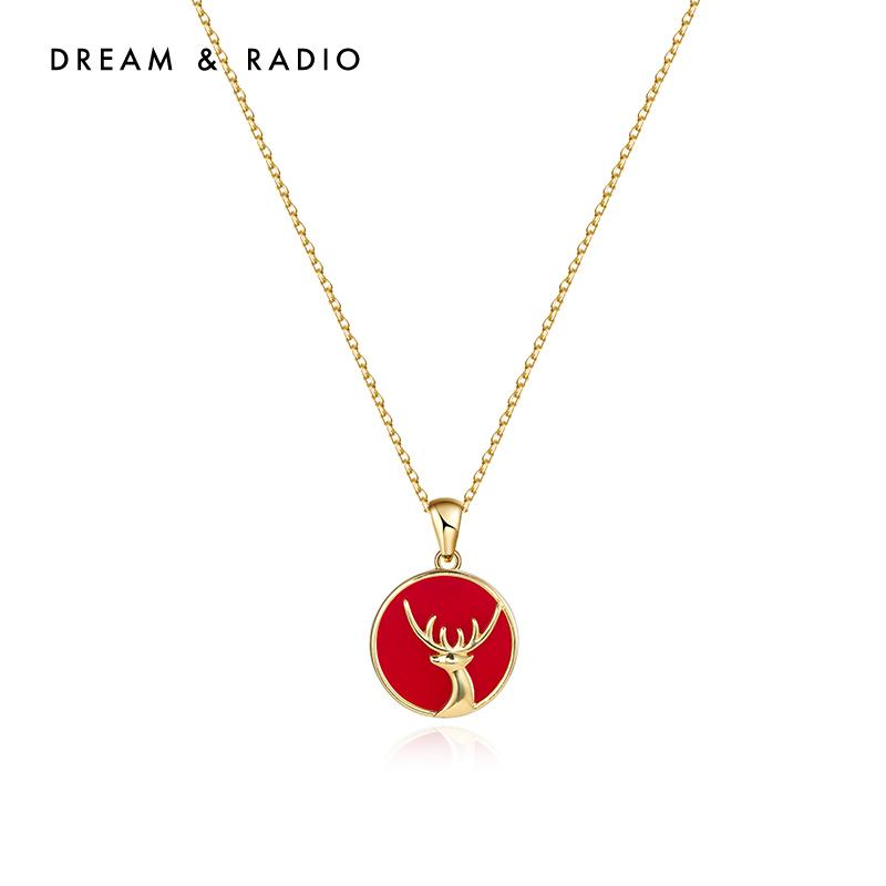 Dream&Radio设计师圣诞一路有你系列925银项链圣诞礼物 麋鹿项链
