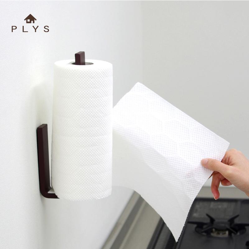 日本卫浴品牌PLYS厨房创意纸巾架卷纸架 强力魔术贴免打孔