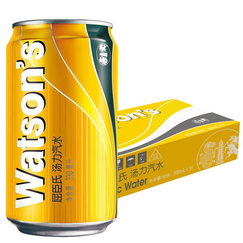 屈臣氏(Watsons)汤力汽水 碳酸饮料 调酒净饮推荐 330ml*24罐 整箱装