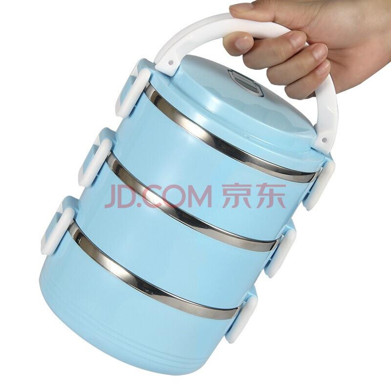 南极人 Nanjiren 不锈钢3层保温饭盒 三层便当盒儿童多层手提锅学生分层餐盒日式 优雅蓝款饭盒NJR635,南极人(Nanjiren)