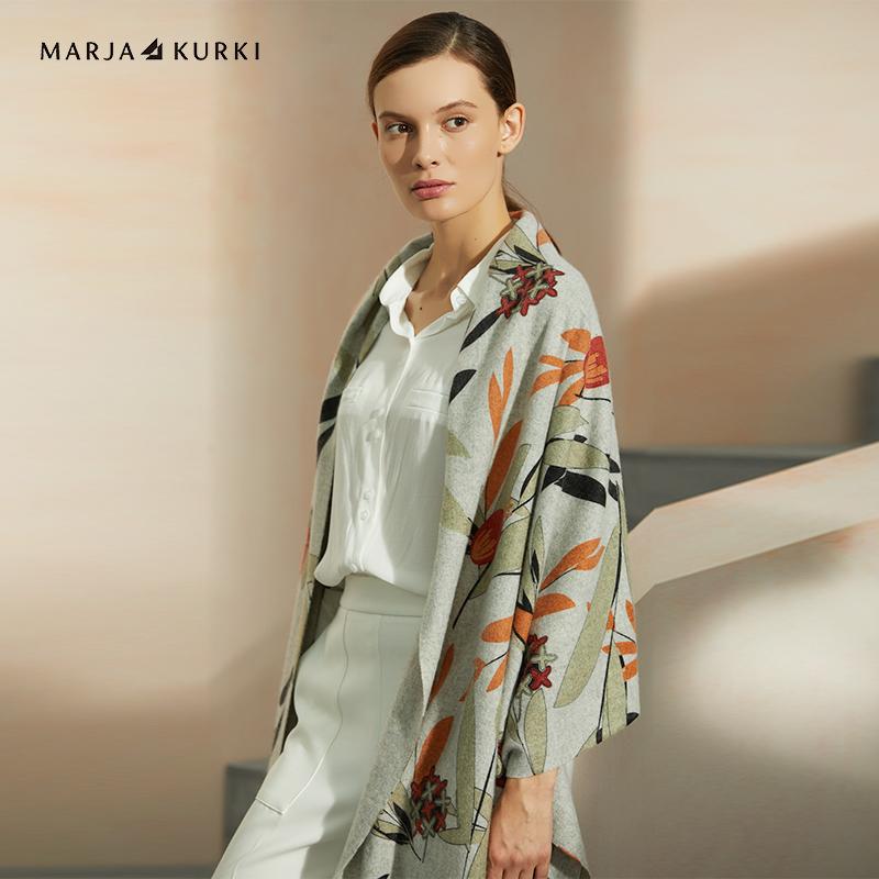 玛丽亚.古琦(MARJA KURKI)羊绒围巾女士冬季用 加厚印花围巾披肩两用 冬日的生命1GG154565 绿