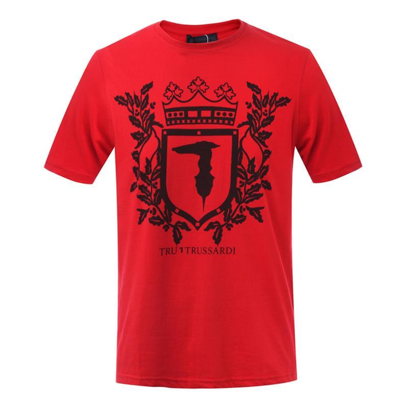 Trussardi/楚萨迪 圆领男士短袖T恤 32T00156 红色/蓝色/白色/灰色/深蓝色/黑色