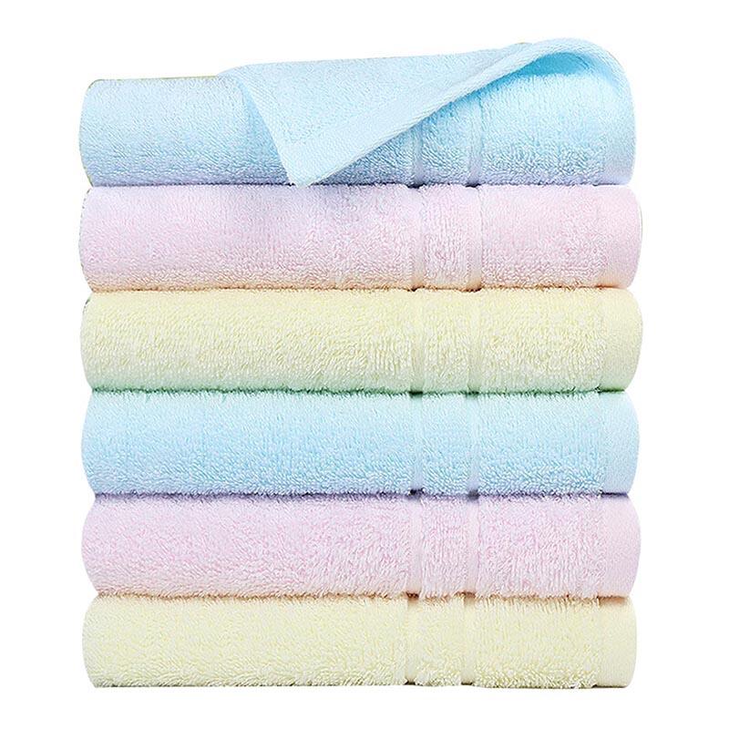潔麗雅(Grace)純棉洗臉面巾素色舒適柔軟毛巾6條裝 60x30cm 紅色*2+蘭色*2+黃色*2