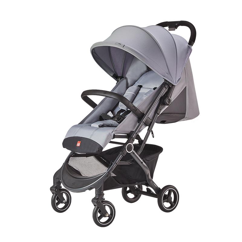 gb好孩子 婴儿车 可坐可平躺 背带可调节 前扶手可拆卸 单手刹车 轻便儿童推车 灰色 D619-R209GG