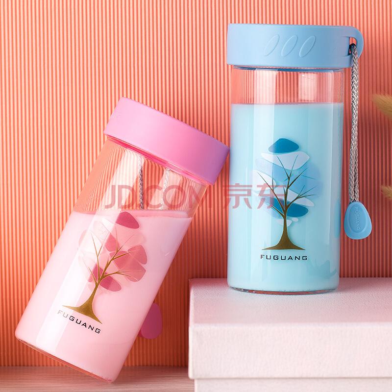 富光 多彩可爱单层玻璃杯 男女士便携随手玻璃水杯泡茶杯 带杯套情侣水杯子 380ml 粉红(G1503-380),富光