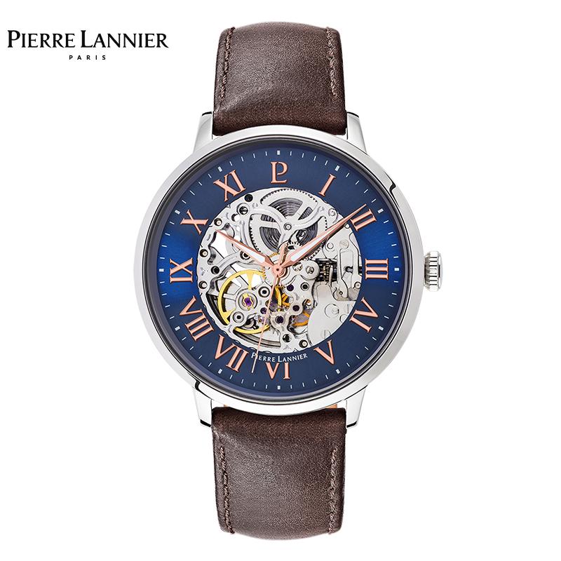 连尼亚(Pierre Lannier)男士蓝色圆形皮质表带机械表322B164