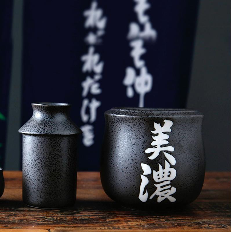 MinoYaki美濃燒日本進口磨砂酒杯溫酒器陶瓷酒壺酒杯四件套